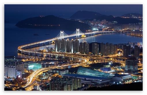 Download Gwangan Bridge, Busan, South Korea UltraHD Wallpaper