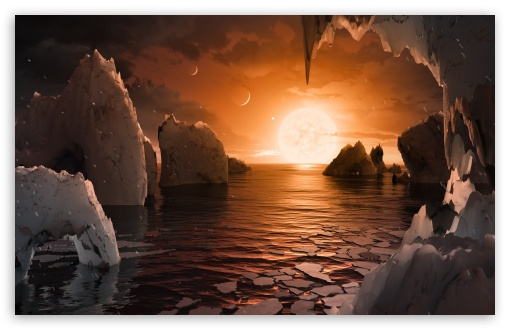 Download Surface of planet TRAPPIST 1f UltraHD Wallpaper