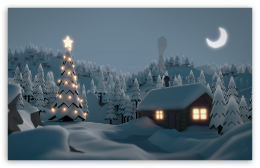 Download Christmas Tree House UltraHD Wallpaper