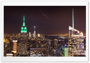 New York City, Night Sky,...