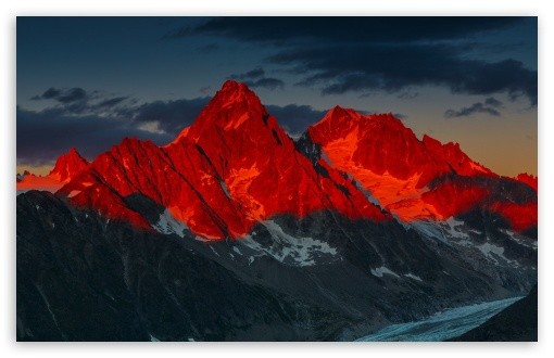 Download Alpenglow over the Argentiere Glacier, France UltraHD Wallpaper
