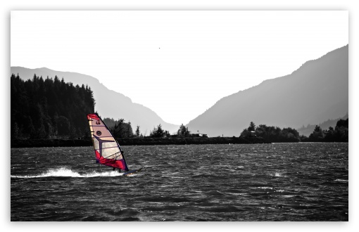 Download Windsurfing In The Columbia River Gorge UltraHD Wallpaper