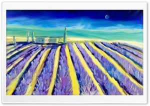 Lavender Field Toscany Painting