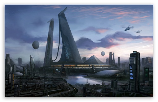 Download Futuristic City Art UltraHD Wallpaper