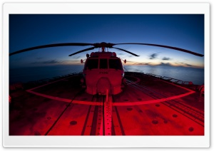 Military Helicopters Red And...