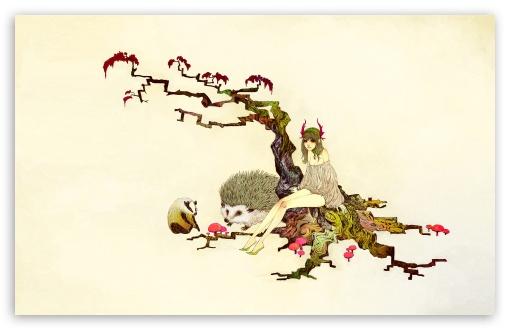 Download Japanese Maple Tree Illustration UltraHD Wallpaper