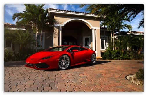 Download Red Lamborghini Huracan Florida UltraHD Wallpaper