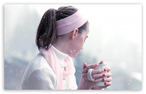 Download Girl Drinking Hot Tea UltraHD Wallpaper