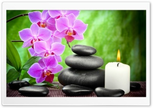 Spa, Candle, Orchid Flowers