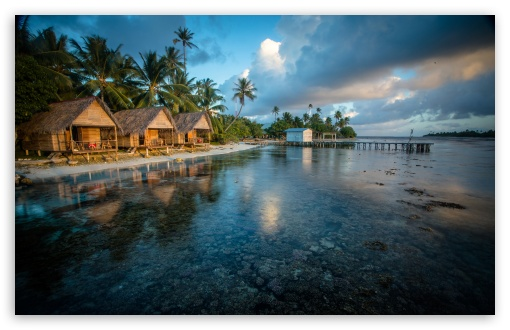 Download Bungalows On The Reef French Polynesia UltraHD Wallpaper