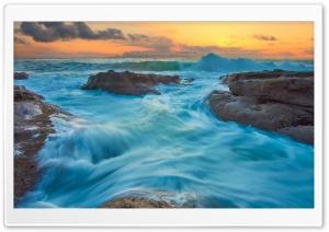 Sea Waves, Shore, Orange Sunrise