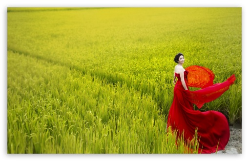 Download Romantic Lady In Red UltraHD Wallpaper