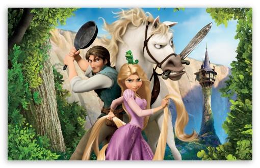 Download Tangled   Rapunzel, Flynn And Maximus UltraHD Wallpaper