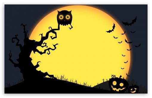 Download Halloween Full Moon Night, Owl, Bats,... UltraHD Wallpaper