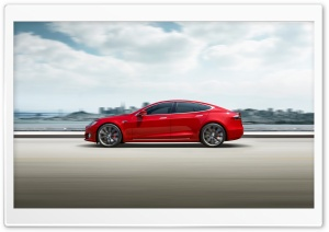 Red Tesla Model S Electric...