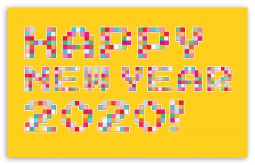 Download Happy New Year 2020 Pixel Art UltraHD Wallpaper