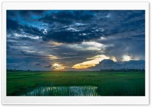Sunset Dark Clouds Landscape