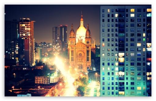 Download Santiago-Iglesia del Sacramento Noche UltraHD Wallpaper