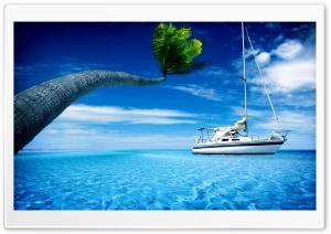 Sea, Ocean, Steamer, Island