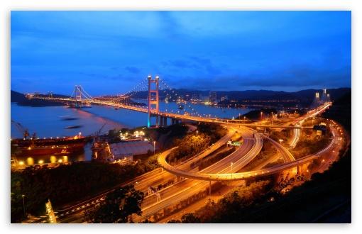 Download Hong Kong Highways Evening UltraHD Wallpaper