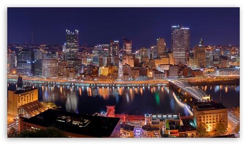 Download Pittsburgh City Panorama at Night UltraHD Wallpaper