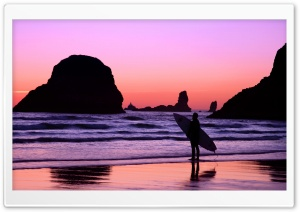 Surfer At Sunset Cannon Beach...