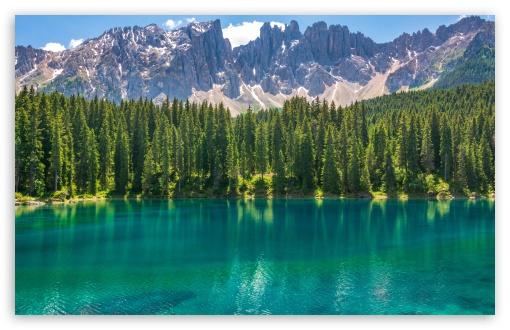Download Karersee Lake, Dolomites Mountains, Italy UltraHD Wallpaper
