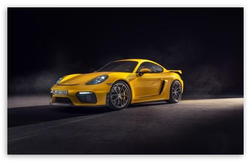 Download 2019 Yellow Porsche 718 Cayman GT4 Car UltraHD Wallpaper