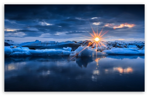 Download Sunset Over Ice UltraHD Wallpaper