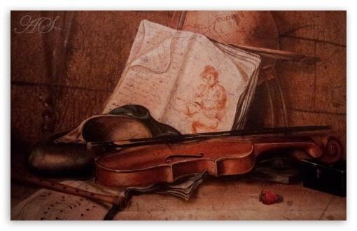 Download Ancient Violin UltraHD Wallpaper
