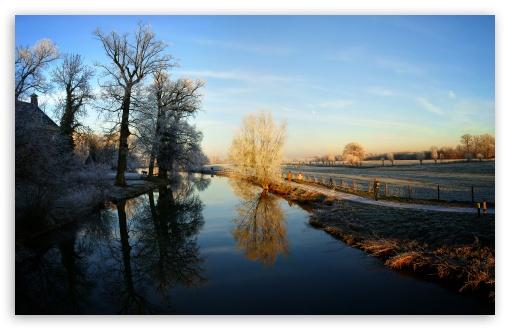 Download Winter - Kromme Rijn, Amelisweerd, Utrecht UltraHD Wallpaper