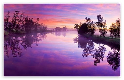 Download Purple River Reflection UltraHD Wallpaper