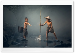 Boy Catching Fish with a Spear