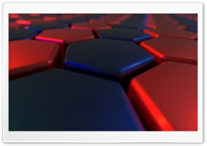 Red, Blue, abstract hexagons