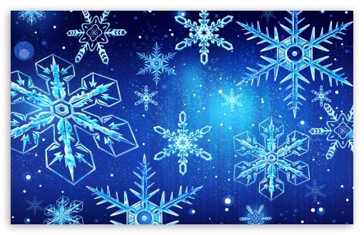 Download Blue Snowflakes New Year UltraHD Wallpaper