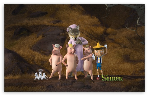 Download The Three Little Pigs And Pinocchio UltraHD Wallpaper