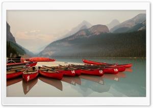 Canoeing, Lake Louise, Banff,...