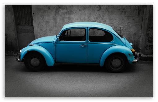 Download Old Blue Volkswagen UltraHD Wallpaper