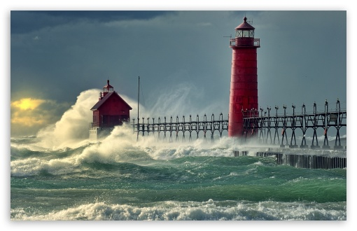 Download Lighthouse Stormy Sea UltraHD Wallpaper