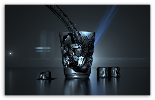 Download Glass of Water and Some Ice Cubes UltraHD Wallpaper