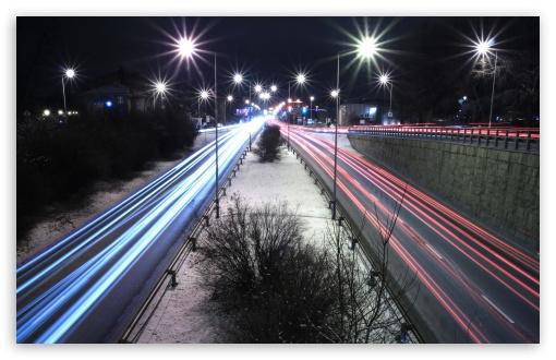 Download Long Exposure Night Road UltraHD Wallpaper