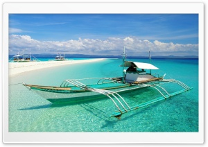 Boat On Tropical Beach With...