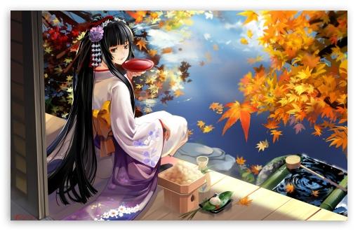 Download Autumn Anime Scenery UltraHD Wallpaper