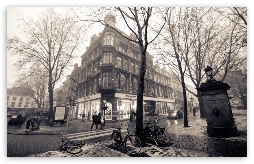 Download Mariaplaats, Misty Utrecht, Winter UltraHD Wallpaper