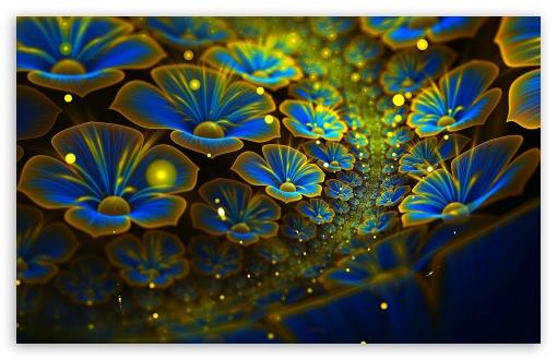 Download Blue Flowers Art UltraHD Wallpaper