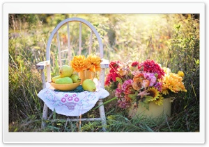 Still Life Pears Fruits Bowl,...