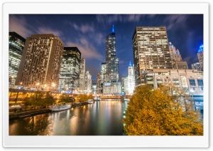 Chicago River, Night, Autumn