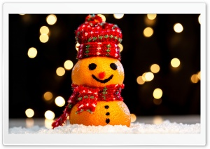 Cute Funny Snowman, Happy...