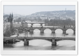 Prague Bridges Black and White