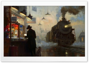 Train Station Painting